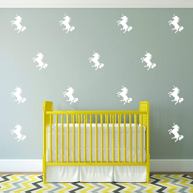 Amazon.com: Set of 20 Vinyl Wall Art Decals - Unicorns Pattern - 5 ...