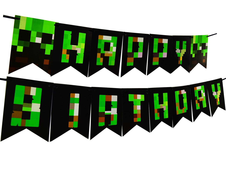 Super Amazon.com: Pixel World Party Decoration Happy Birthday Banner For  IP87