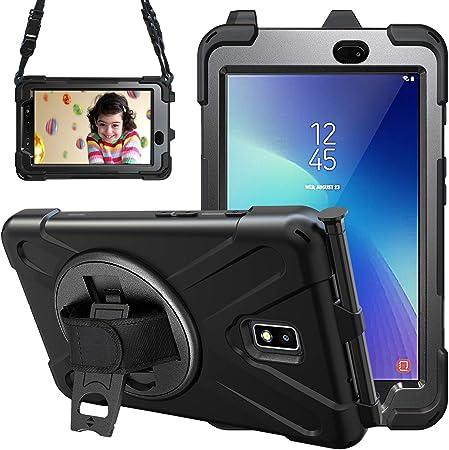 Gerutek Coque Galaxy Tab Active 2 SM-T390 / T395, Étui Robuste Antichoc, avec Porte-Crayon, Support Rotatif, Dragonne, Bandoulière à Main, Protection ...