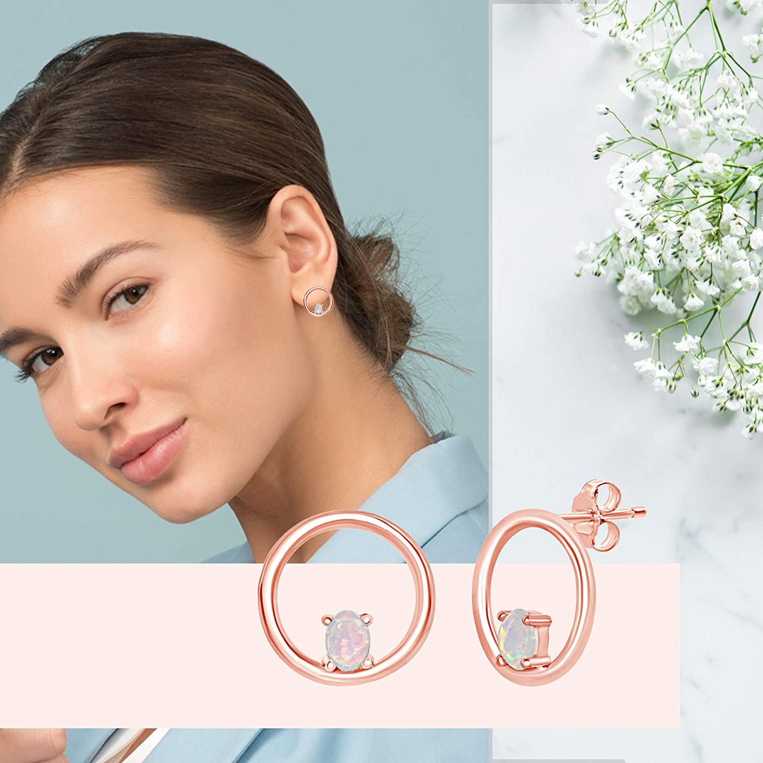 Sterling Silver//Rose Gold Plated Created White Opal Circle of Life Stud Earrings