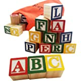 Skoolzy ABC Wooden Blocks for Toddlers - 30 Wood Alphabet Blocks - Montessori Stacking Letter Preschool Learning Toys - Kinde