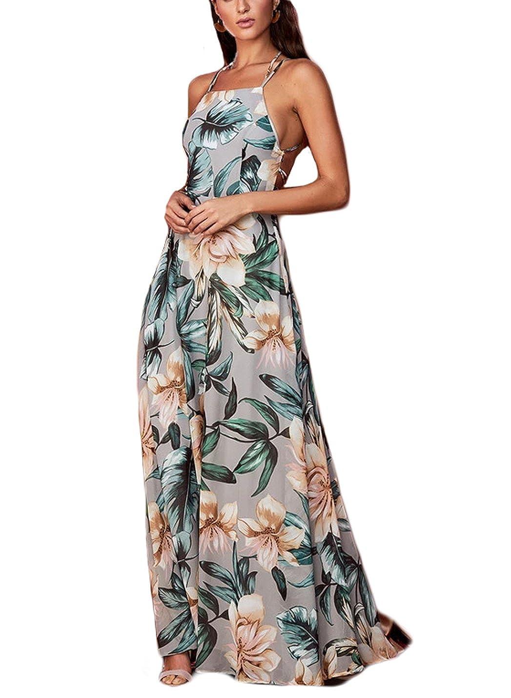 27b57245c5b NERLEROLIAN Women s Sleeveless Halter Neck Sexy Floral Print Maxi Casual  Dress for Autumn at Amazon Women s Clothing store