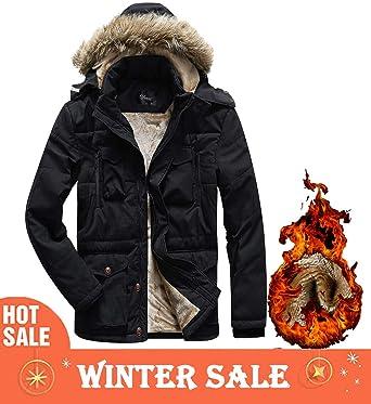 7dc915be28d Korago Mens Military Winter Jacket Fleece Coat with Detachable Fur Hood  Black 337 Medium