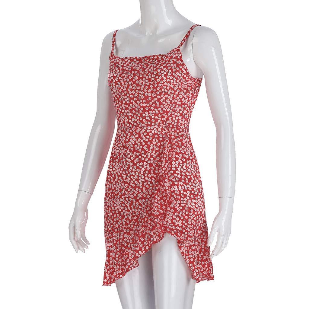 ★ZFK_DRESS Women's Boho Spaghetti Strap Sundress Bohemia Flare Ruffle Hem Mini Dress Red