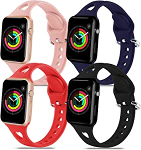 4 Pack Silicone Wristbands Compatible with Apple Watch Bands 42mm 44mm for Women Men,Soft Durable Sport Band Replacement Wrist Strap with Air Holes for iWatch SE Series 6 5 4 3 2 1