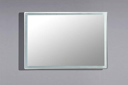Spiegel badezimmer LED beleuchtet 115 cm x 66 cm mit Knopf Sensitiv ...