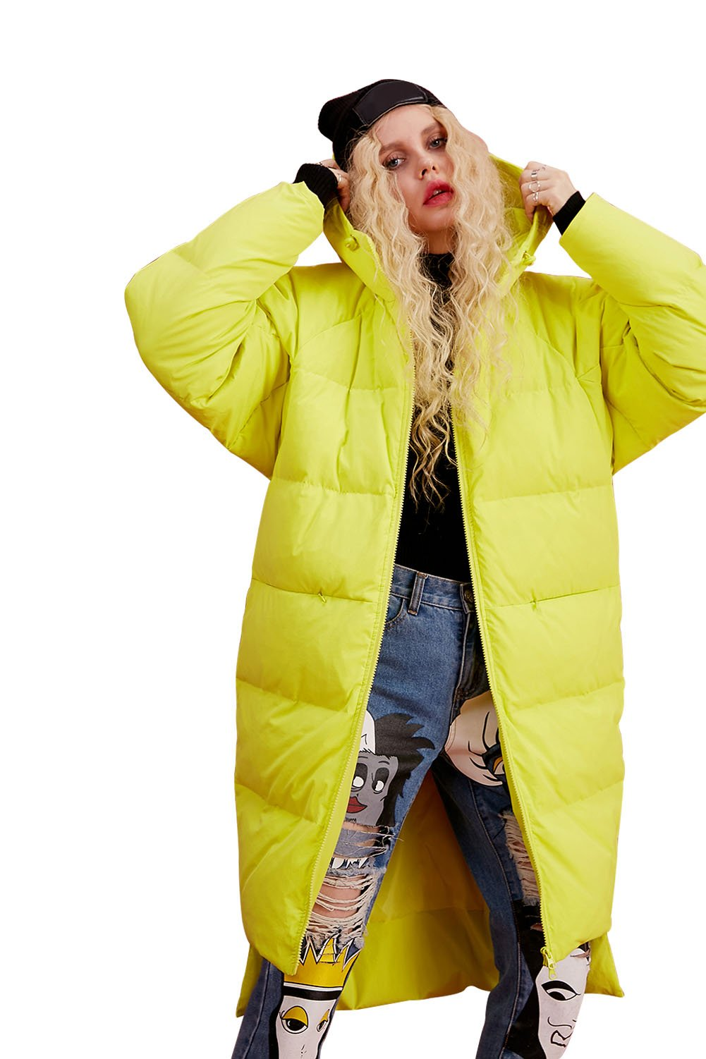 Elf Sack Women's Hooded Down Jacket Long Winter Coats With Raglan Sleeve Yellow X-Large