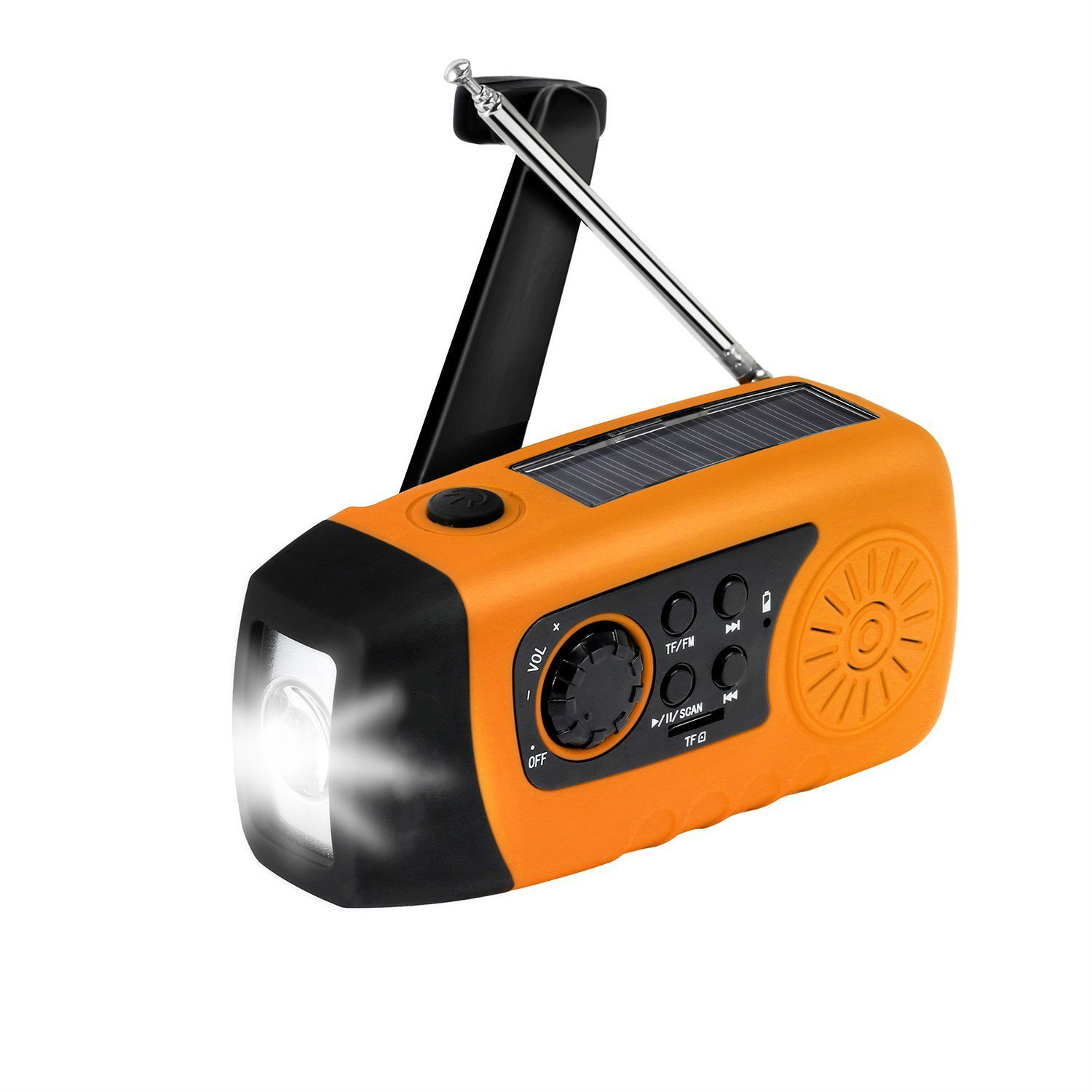 Emergency Solar Hand Crank FM Radio with LED Flashlight, 2000mAh Phone Charger, TF Card MP3 Player w/Cable