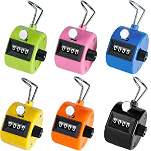 Ktrio Pack of 6 Color Hand Tally Counter 4 Digit Tally Counters Mechanical Palm Counter Clicker Counter Handheld Pitch Click Counter Number Count for Row, People, Golf & Knitting, Assorted Colors