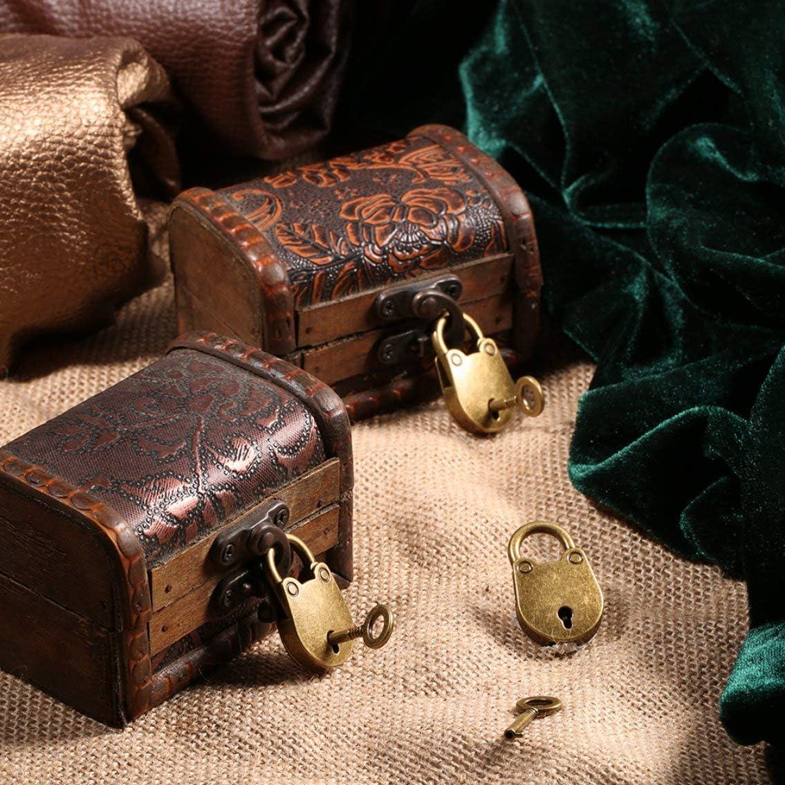 Panamami 3 Unids//set Chapado En Bronce Antiguo Estilo Chino Candado De La Vendimia Caja De Cofre De La Joyer/ía Bloqueo Del Cuaderno Candado Cintur/ón De Equipaje Con Llaves//Bronce