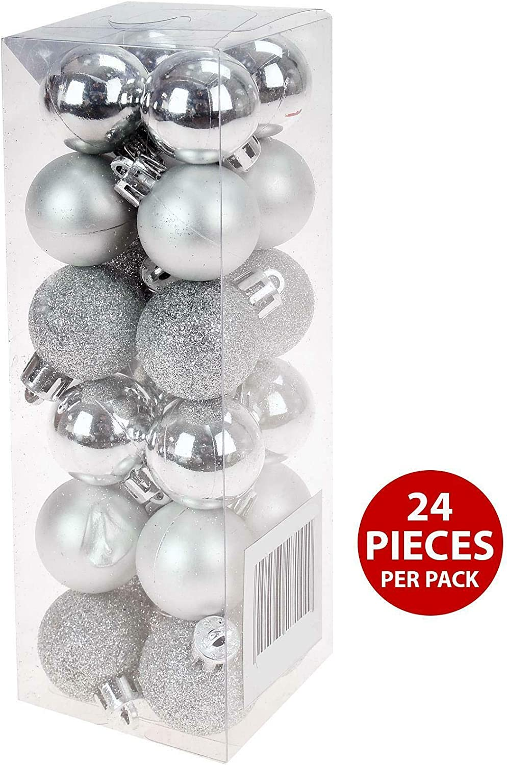 PMS SET OF 24 3CM BAUBLES IN PVC BOX SILVER