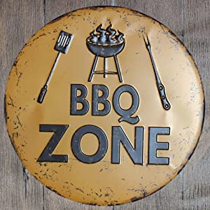 metal tin sign BBQ Zone Round Suitable for Home and Kitchen Bar Cafe Garage Wall Decor Retro Vintage Diameter 12 inch