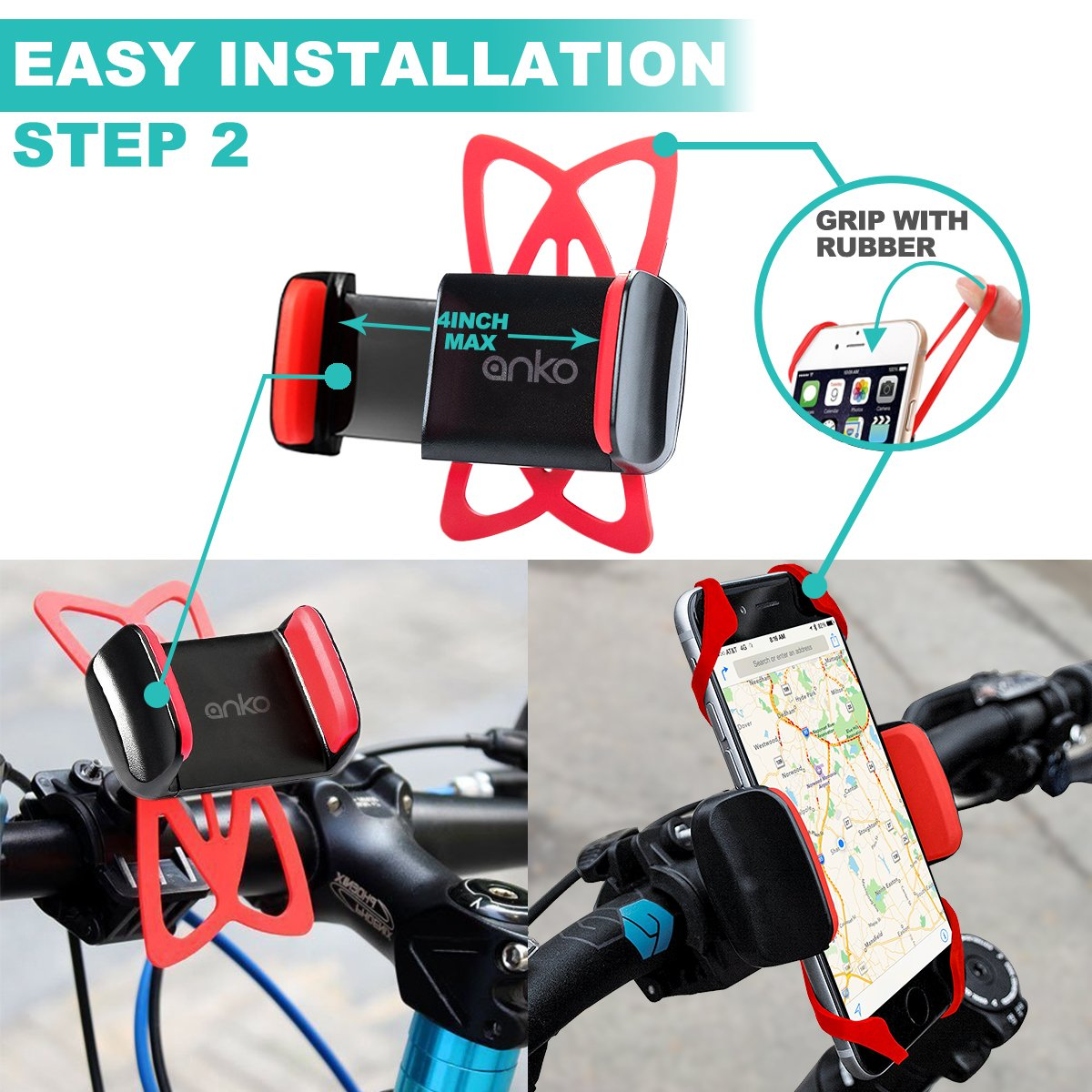 ANKO 360 Rotation Universal Premium Adjustable Phone Mount 7 Plus And More 4326590341 And More S5 Holds Phones Up To 3.5 Wide. Galaxy S7 1 PACK Suit For iPhone 7 1 PACK Holds Phones Up To 3.5 Wide. Bicycle//Motorcycle Phone Mount S6