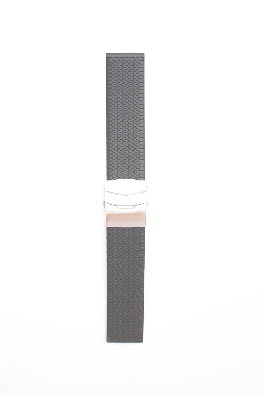 20 mmブラックtire-treadゴム/シリコンwith S / S Deployment Buckle  B004U6EBBE