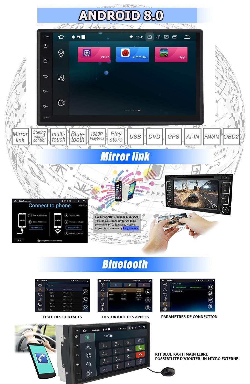 Navegaci/ón GPS Bluetooth Puerto USB Pantalla t/áctil de 7+ Soporte WiFi G/ÜM/Ü- PX3PROAV05- Radio del Coche con Android 8.0 Est/ándar Doble DIN Memoria Interna de 16GB