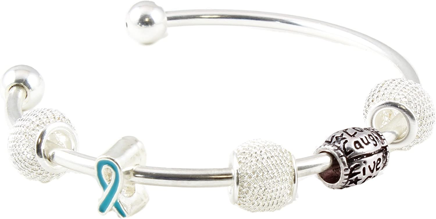 Amazon Com Ovarian Cancer Awareness Silver Plated Cuff Bracelet With Live Love Laugh Charm Jewelry