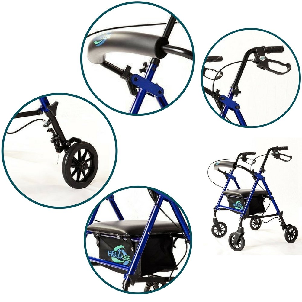 Lightweight Rollator Walker with Seat and Brakes, Super Light Rollator Lightweight Aluminum Walker with Seat and Basket, Brakes, 6'' Wheels, Easy Adjustable Rollator Walker Seat and Arms, Blue by HEALTHLINE