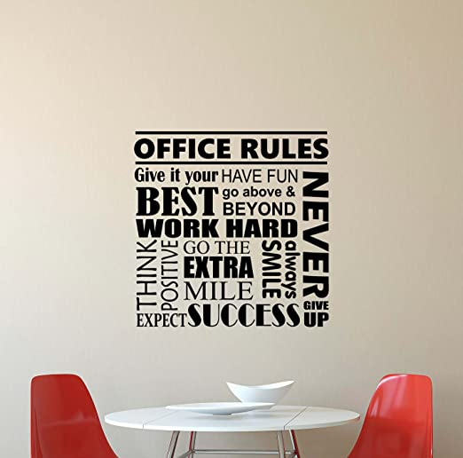 Amazon com office rules wall decal quote inspirational lettering vinyl sticker motivational boss gift decorations home bedroom decor art poster mural