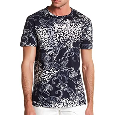 bd4ebc52f Amazon.com: Versace Jeans Tiger All Over Print Tee, Navy W White ...