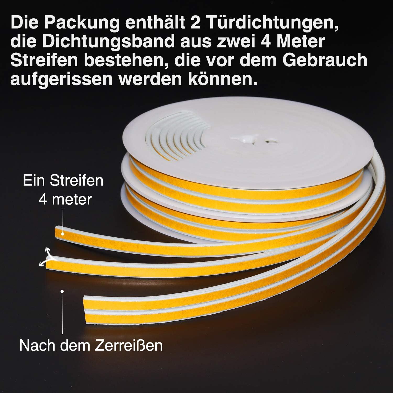 Wei/ß D-Profil Gummidichtung Selbstklebende T/ürdichtungen Gummidichtung Dichtungsband f/ür T/ür- und Fensterspalten Gegen Kalte Zugluft Staub SOMELINE 8M x 2 B/ände