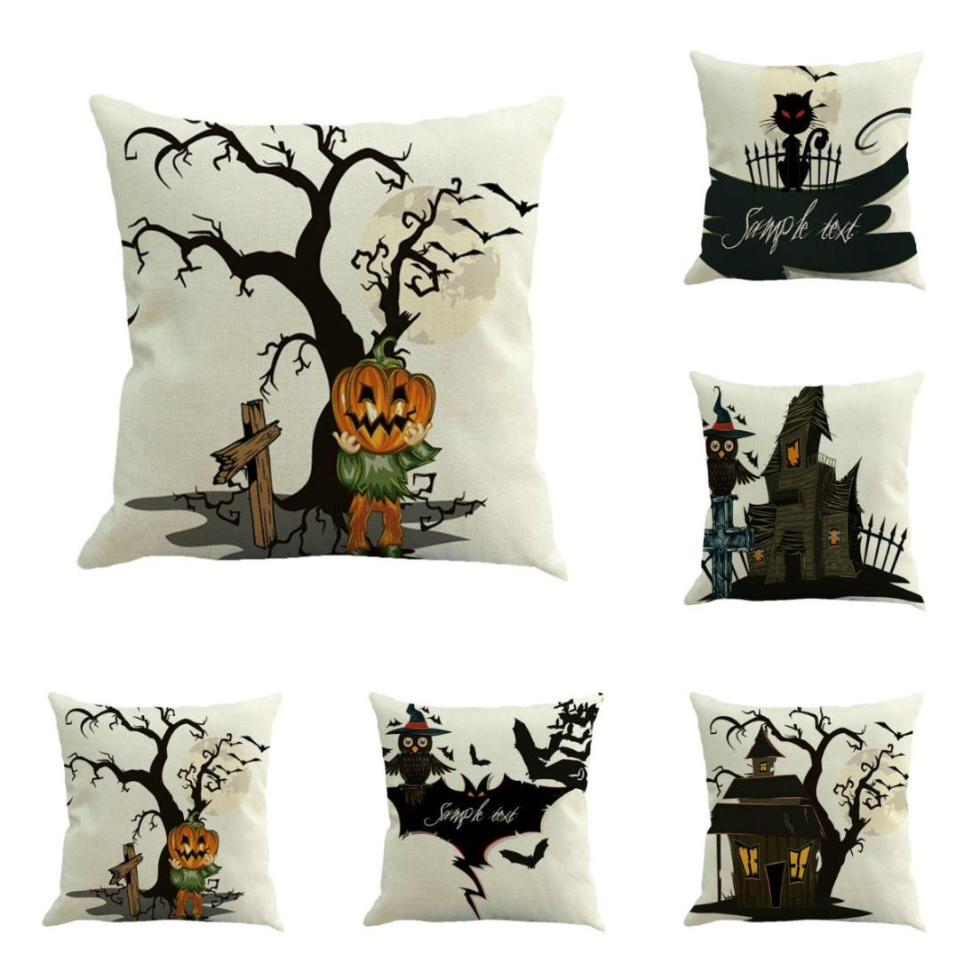 Gotd Vintage Halloween Pillow Covers Decorative Throw Pillow Case Cushion Happy Halloween Decorations Decor Clearance Indoor Outdoor Festive Party Supplies (Multicolor A)