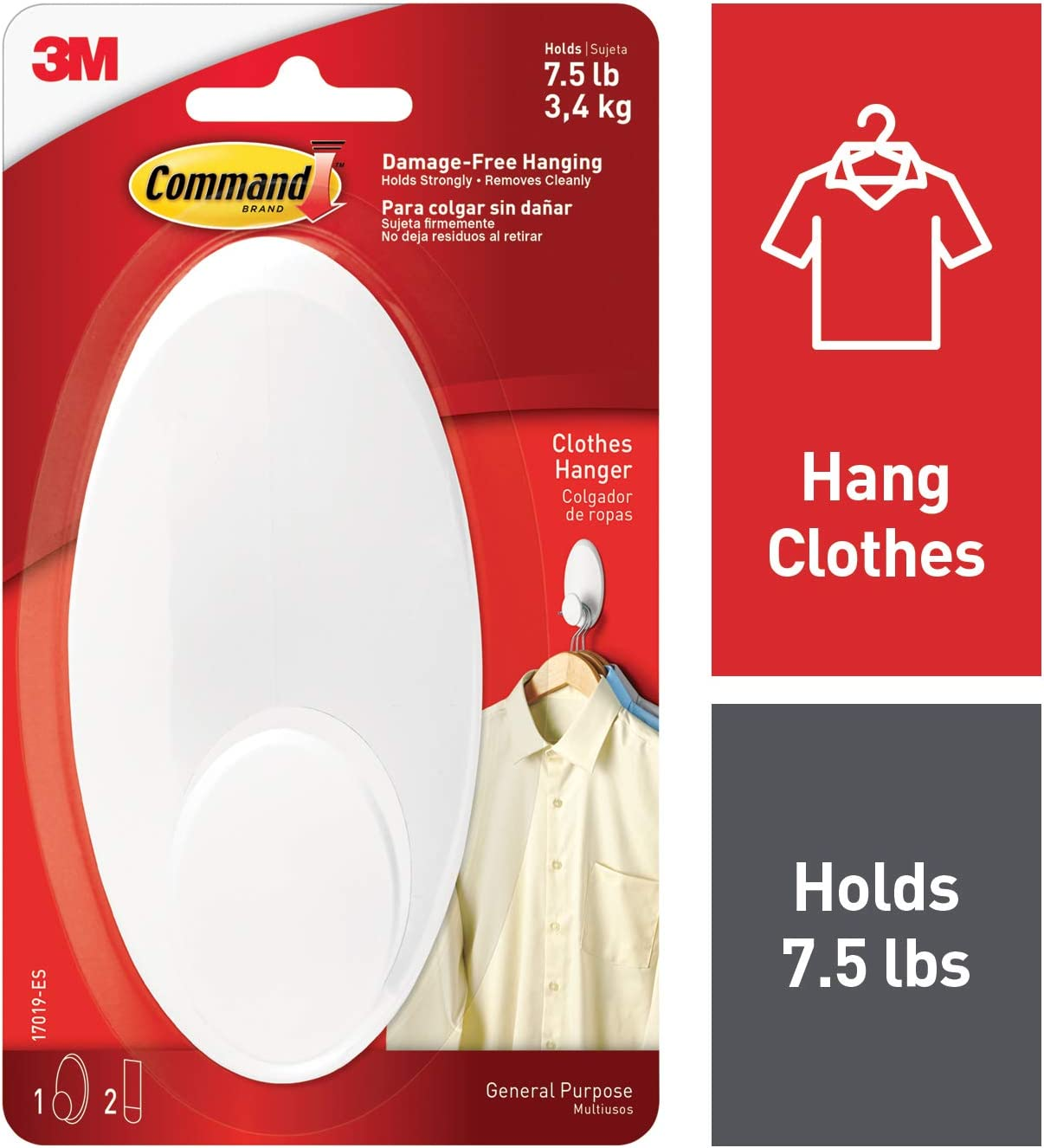 Command Clothes Hanger, 1 hanger, 2 strips, Large, Organize Damage-Free, White (17019-ES)