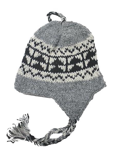 430b4401d Amazon.com: Hand Knit Unisex WOOL Beanie Hat Ear Flap Fleece Lined ...