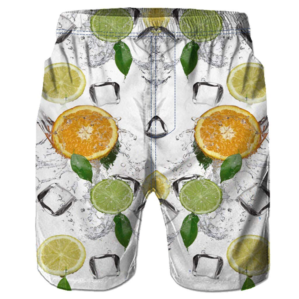 Huaa Men Short Trouser Casual 3D Graffiti Printed Beach Work Shorts Casual Mens Pants