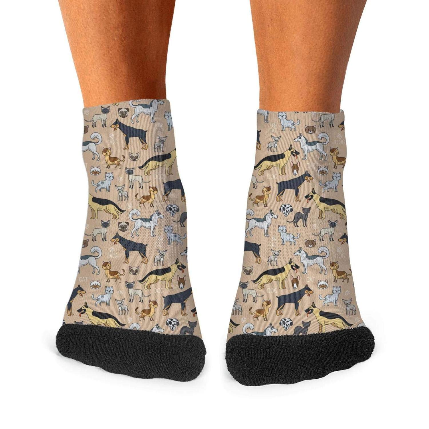 Mens athletic low cut Ankle sock cute cats and dogs Short Comfort Sock