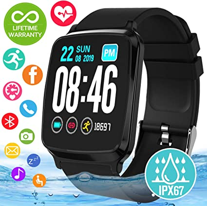 Smart Watch, Waterproof Smartwatch for Android Phones, Sport Fitness Watch with Blood Pressure Heart Rate Monitor Activity Fitness Tracker with ...