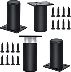 4 Piece Stainless Steel Furniture Legs, Milkary 3 Inch Height Adjustable Thickened Metal Cabinet Desk Leg Replacement Legs with Screws for Table Chair Sofa Bed