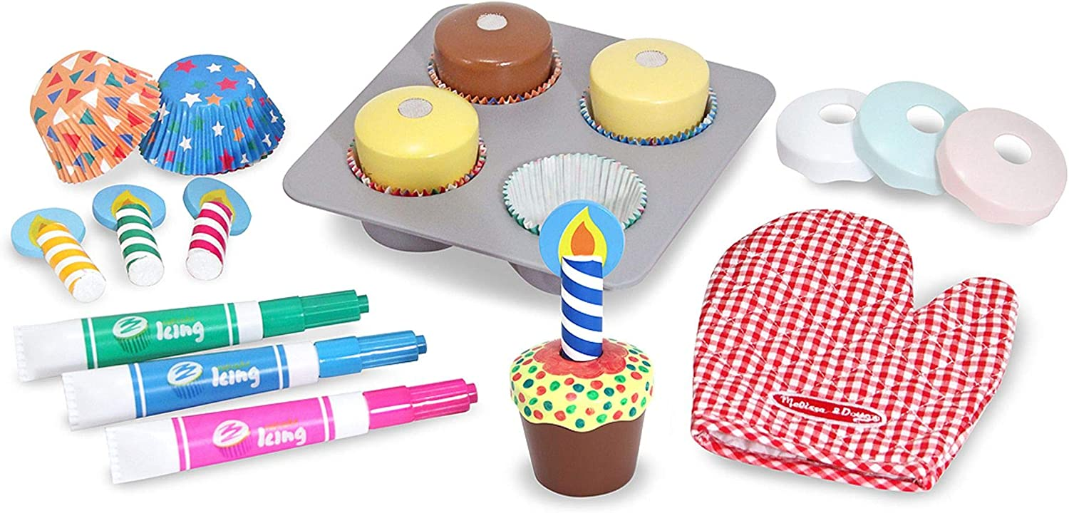 Pretend Play, Colorful Wooden Play-Food Set,, 22 Pieces, Great Gift for Girls and Boys - Best for 3, 4, and 5 Year Olds Melissa /& Doug Bake /& Decorate Cupcake Set