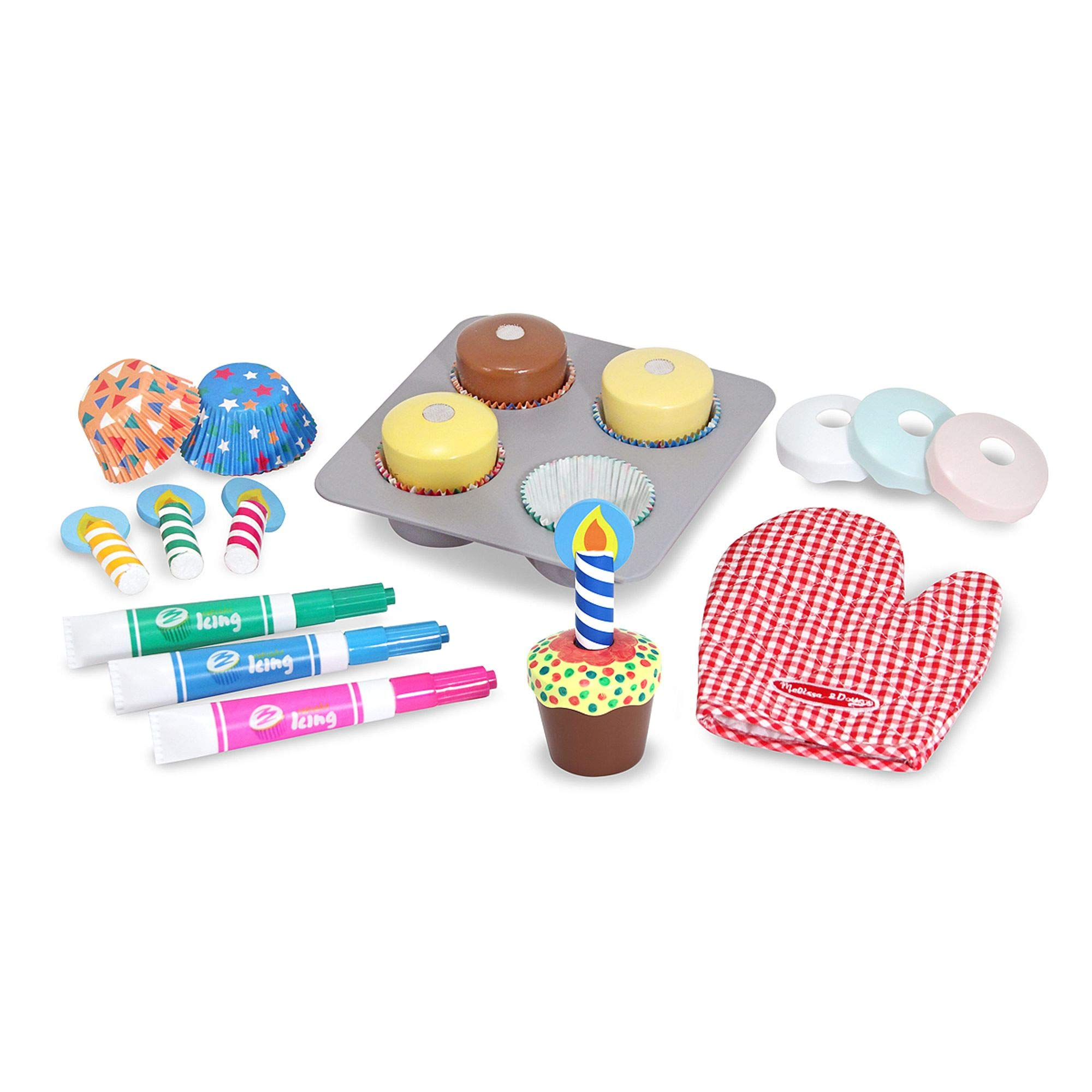 Melissa & Doug Bake & Decorate Cupcake Set (Pretend Play, Colorful Wooden Play-Food Set, Materials, 22 Pieces, Great Gift for Girls and Boys - Best for 3, 4, and 5 Year Olds) by Melissa & Doug
