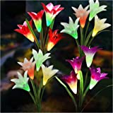 TONULAX Upgraded Solar Lights Outdoor - Color Changing Solar Flower Lights for Garden Decoration, Bigger Flower and…