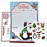Lettera a Babbo Natale, foglio per lista dei desideri con busta, adesivi e matita (lingua italiana non garantita), set da 5 pezzi