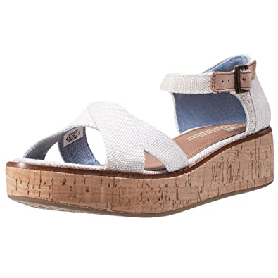 0c1e9606c6c TOMS Womens Natural Yarn Dye Harper Platform Wedge Sandals-UK 3