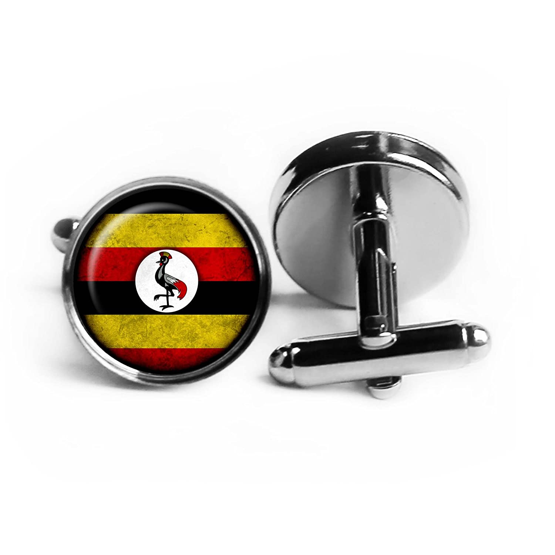 Uganda Ugandan Flag Ugandische Flagge Rhodium Silber Manschettenkn/öpfe