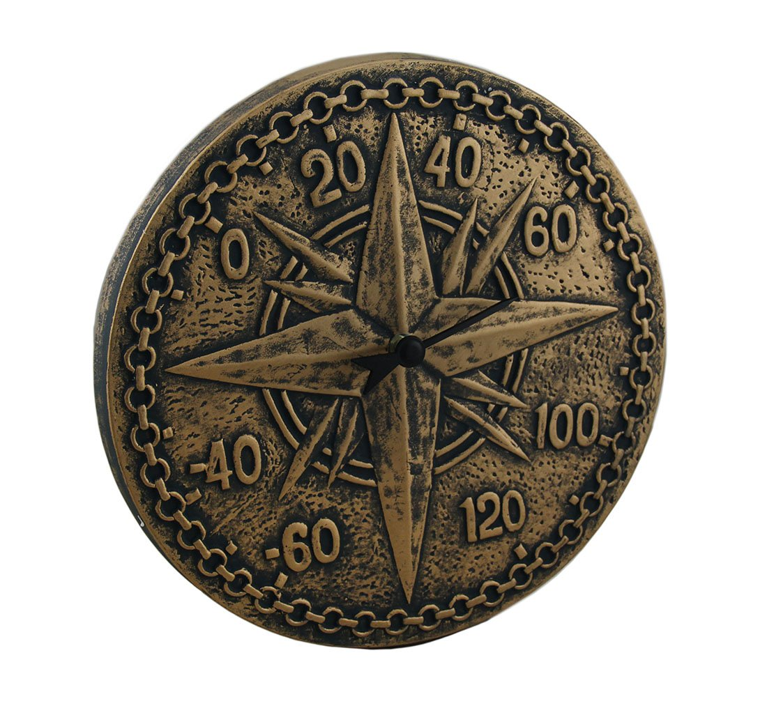 Bronze Finish Terracotta Compass Rose Wall Thermometer Zeckos 67111