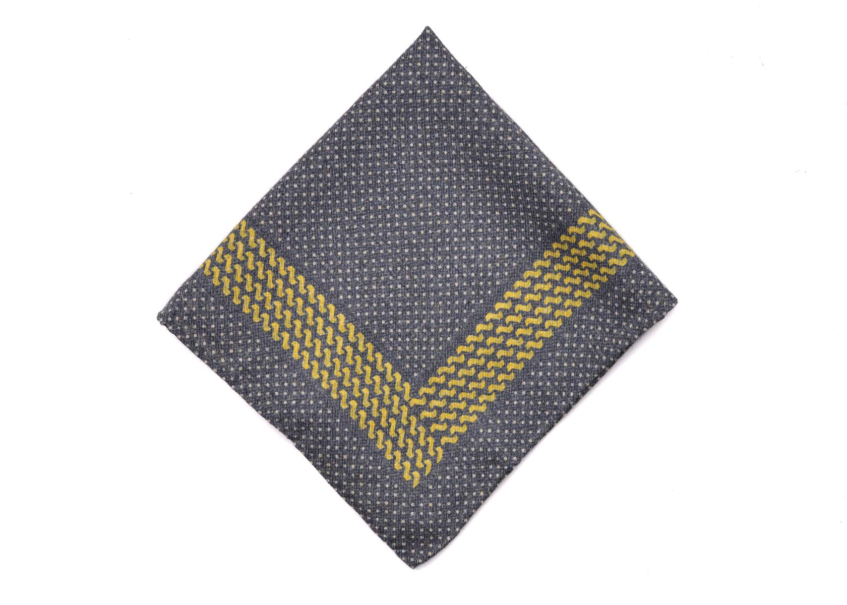 Brunello Cucinelli Mens Gray Yellow Dotted Pocket Square One Size~Retail$225