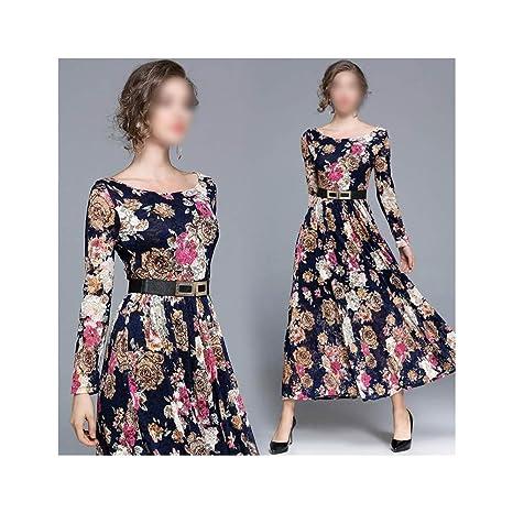 Vestido de Mujer Falda Larga de Encaje Estampado de Manga Larga ...