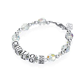 594acfd89a9e2 Personalized Name with Swarovski Clear Crystal and Sterling Silver Beads  Handmade Baby Bracelet (B121_S)
