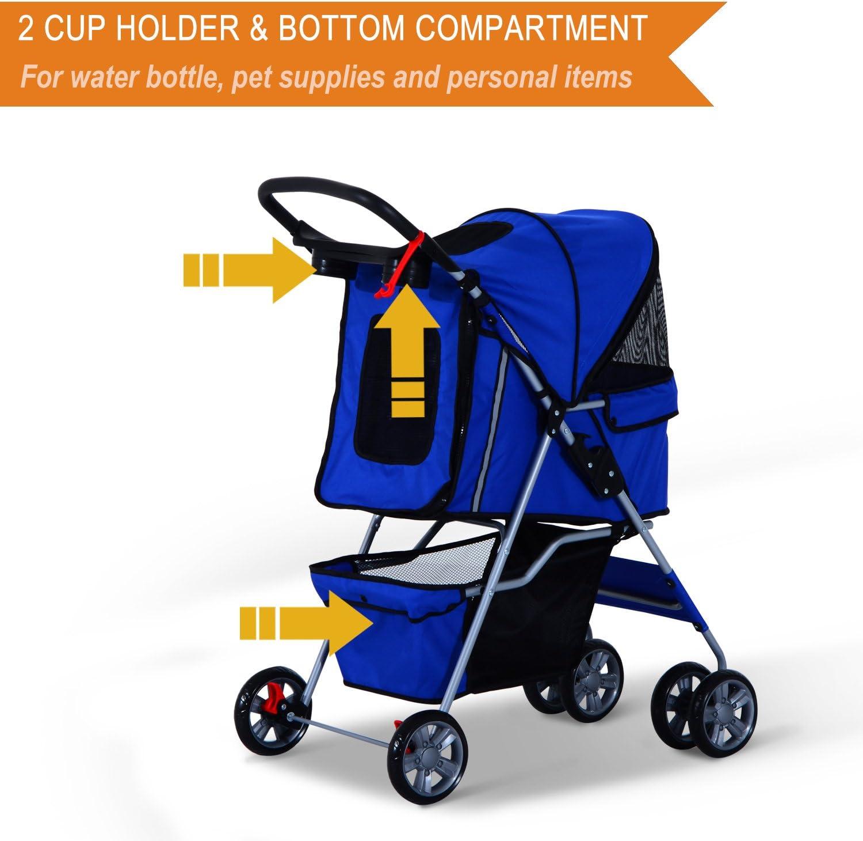 Festnight Dog Pet Stroller 4 Wheel Cat Carrier Folding Sunshade ...