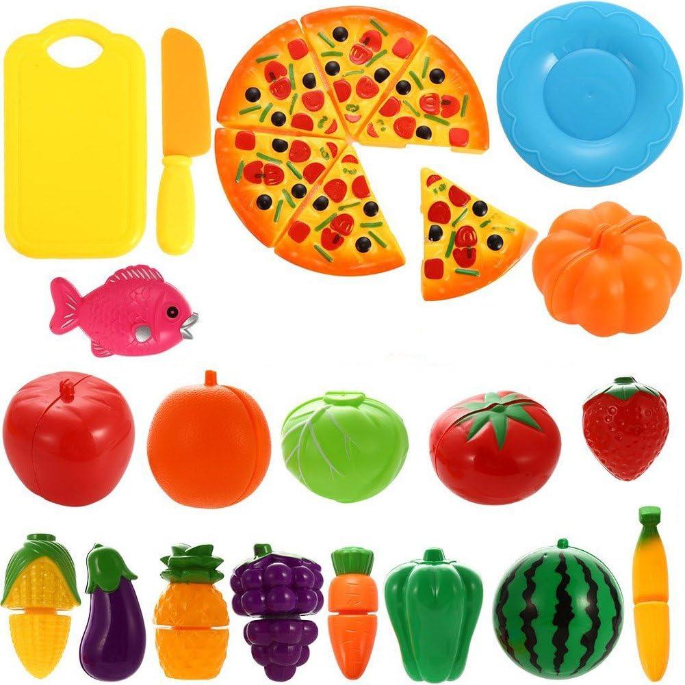 Schneiden Obst GeyiieTOYS 36 St/ück Spiellebensmittel Kinderk/üche Lebensmittel Essen Spielen Set DIY Hamburger Rollenspiele Spielzeug Geschenk f/ür Jungen und M/ädchen