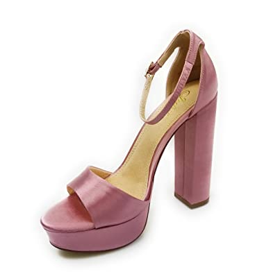 Platform Basic Heel Open Toe Satin Ankle Strap Chunky Block Heel Yuko-17 (10 Dusty Pink)