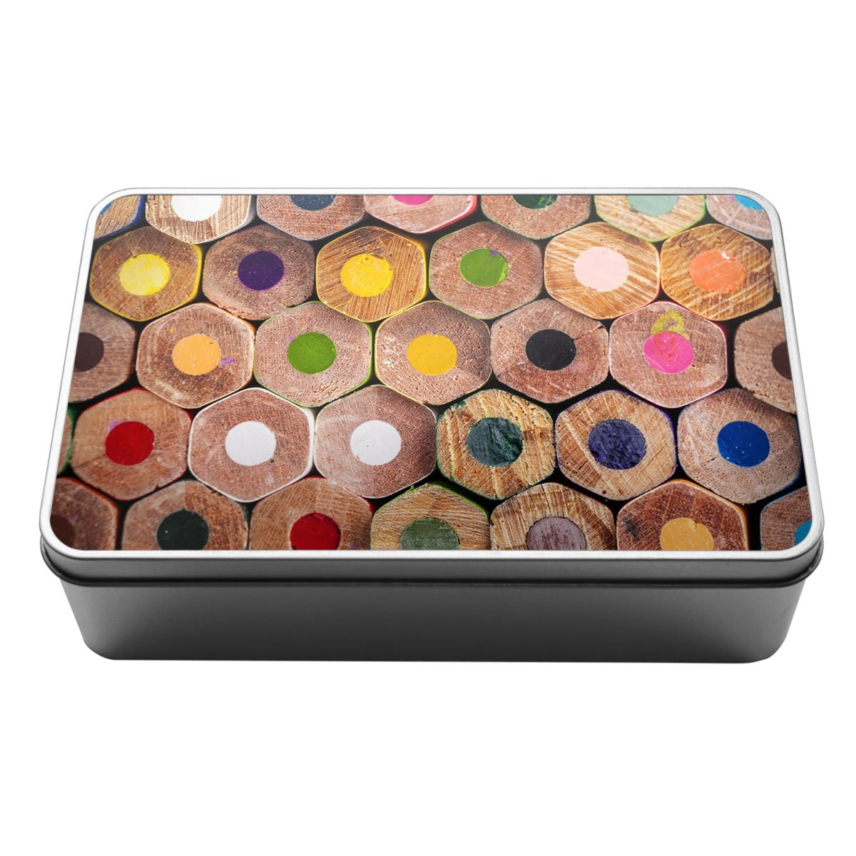 Coloured pencil tops pattern Metal Storage Tin Box 065 Duke Gifts
