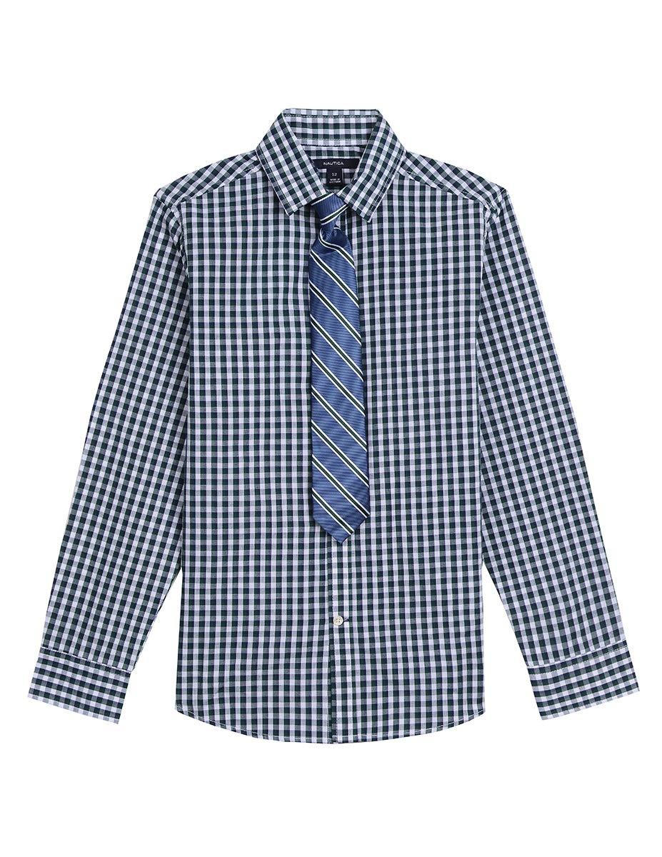 Nautica Big Boys' Long Sleeve Dress Shirt with Tie, Dark Tidal Green, 10