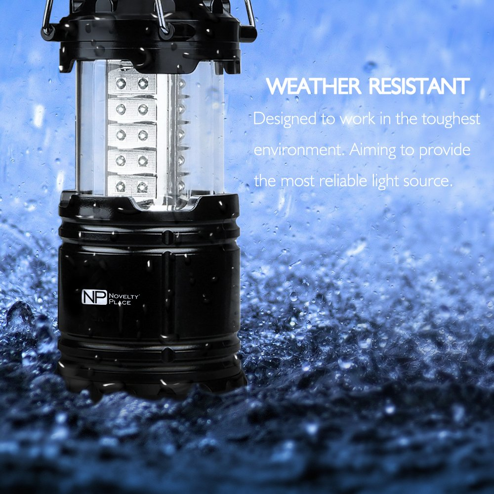 4 Pack Portable LED Camping Lantern, Novelty Place [Heavy Duty & Waterproof] Outdoor Hiking Gear Lights - Ultra Bright Compact Size - Battery Powered Emergency Flashlight by Novelty Place (Image #2)