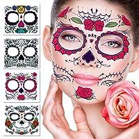 Temporär Gesichtstätowierung, 4 Kits Tattoos Sugar Skull Aufkleber Tag der Toten Make-up, Gesicht Tattoo Rose Design für Halloween, Maskerade und Partys (Gesichtsaufkleber)