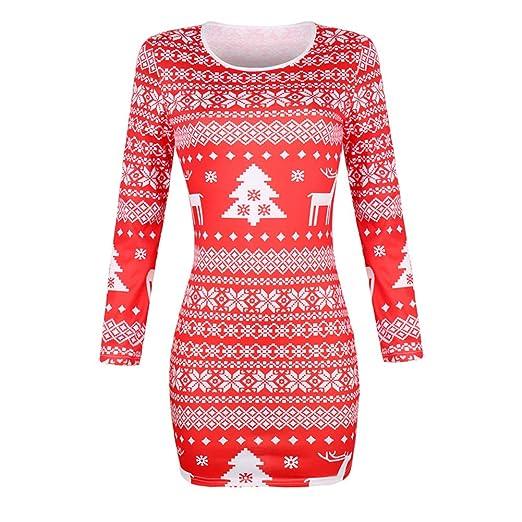 Naisicatar Mujer de Navidad Cuello Redondo Falda Larga Vestido de ...