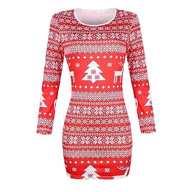 Mujer de Navidad collar falda redonda del vestido largo de manga ...